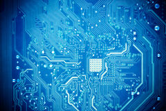 Blue circuit board. As abstract technology background Royalty Free Stock Photo