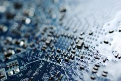 Blue circuit board. stock images
