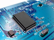 Blue circuit board Stock Images