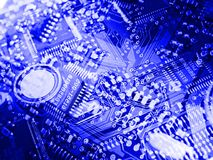 Blue circuit board background. Computerized world concept vector illustration