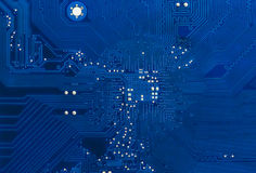 Blue circuit board background of computer motherboard Royalty Free Stock Photo