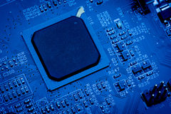Blue circuit board background of computer Royalty Free Stock Image