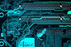 Motherboard. Blue circuit board background of computer motherboard royalty free stock images