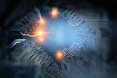 Free Blue Circuit Board Background Of Computer Motherboard Royalty Free Stock Photos - 187213758