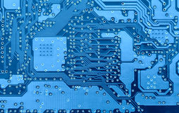 Blue circuit board close-up Stock Photo