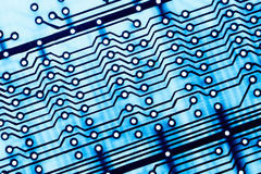 Blue Circuit board close up. Royalty Free Stock Photo