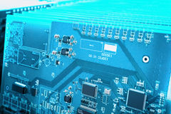 Blue circuit board closeup Stock Photos