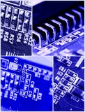 Blue circuit board with components Stock Image