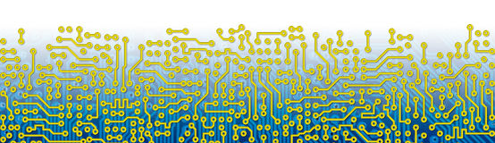 Blue circuit board graphical border Royalty Free Stock Images