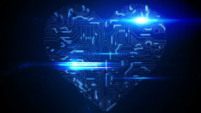 Blue circuit board heart with light. Digital animation of Blue circuit board heart with light