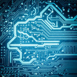 Blue circuit board texture closeup Royalty Free Stock Photo