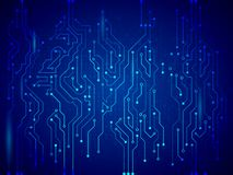 Blue circuit board vector illustration. Royalty Free Stock Photos