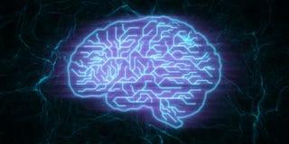 Blue circuit brain wallpaper stock illustration