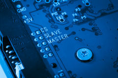 Blue circuit harddisk board Stock Photography