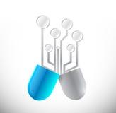 Blue circuit pill illustration design Stock Photo