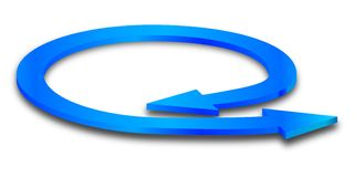 Blue circular arrow with two points. Illustration Stock Photos
