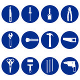 Blue circular icons of tools Stock Photo