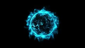 Blue circular shinning glowing light ring sparkle powerful effect dust explosion