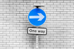 Blue Circular Sign White Direction Arrow BW Royalty Free Stock Image