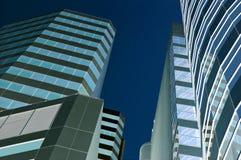 Blue city. Bangkok city center rendered blue Stock Photography