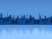 Blue city background Stock Photos
