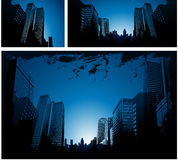 Blue city background. Blue vector city background, downtown city Stock Images