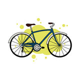 Blue city bicycle. Detailed blue city bicycle isolated on yellow abstract background Royalty Free Stock Photography