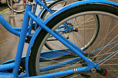 Blue city bicycles Royalty Free Stock Images
