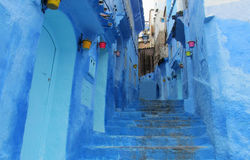 Blue city Chefchaouen street Stock Image