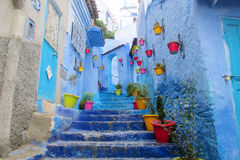 Blue city Chefchaouen street. Chefchaouen or Chaouen city in Morocco. Blue house walls on the street of an ancient city, blue color everywhere. Colorful stock image