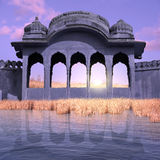 Blue city. Blue fortification near Ganges in the sunrise Royalty Free Stock Image