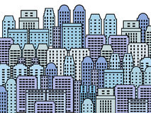 Skyscraper city. Blue city illustration - skyscrapers and modern buildings. Contemporary metropolis and urban landscape Royalty Free Stock Images