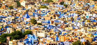 Blue City, Jodhpur, Rajasthan, India. Panorama of the Old Town of Jodhpur, called Blue City for the vibrant blue paint of its houses Stock Image