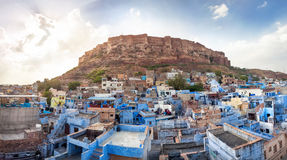 Blue city and Mehrangarh fort Royalty Free Stock Photos