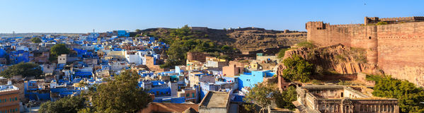 Blue City and Mehrangarh Fort Royalty Free Stock Photography