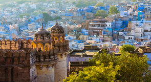 Blue City and Mehrangarh Fort Stock Photo
