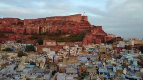 Blue city and Mehrangarh Fort in Jodhpur, Rajasthan. Aerial shot. Blue city and Mehrangarh Fort in Jodhpur, Rajasthan Professional shot in 4K resolution. 024 stock footage
