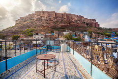 Blue city and Mehrangarh fort Royalty Free Stock Image