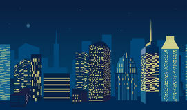 Blue city scape with silhouette of tall skyscrapers buildings in seamless pattern design. Vector illustration Stock Image