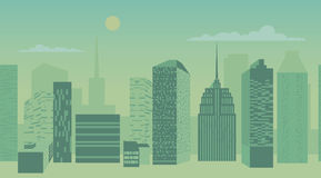 Blue city scape with silhouette of tall skyscrapers buildings in seamless pattern design. Vector illustration Royalty Free Stock Photos