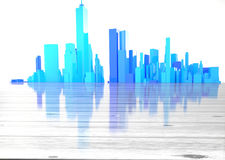 Blue city skyline with wooden foreground Stock Photos