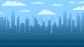 Blue city skyscrapers background, pixel art video game style illustration. Blue city skyscrapers and the clouds, modern background, pixel art vector illustration royalty free illustration
