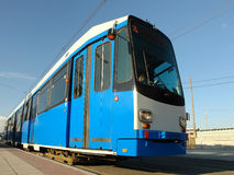 Blue city tram. Waiting at terminus Royalty Free Stock Photos