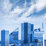 Blue cityscape with modern office buildings Stock Images