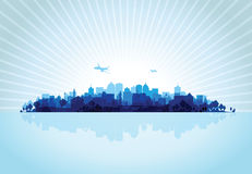 Blue cityscape overprint background Royalty Free Stock Photo