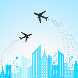 Blue cityscape scene with aeroplane Stock Images