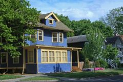 Blue clapboard house royalty free stock image