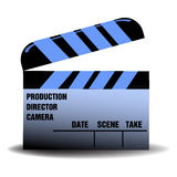Blue clapperboard. Isolated blue clapboard for movies with various filming related words written on the clapboard Stock Photo