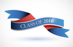 Blue class of 2016 ribbon banner illustration. Design over a white background Royalty Free Stock Photos