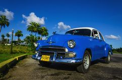 Blue classic American car in Havana, Cuba Stock Photos